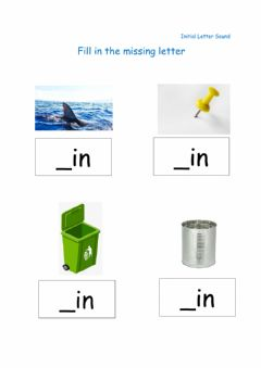 Interactive worksheet Fill in Missing Initial Letter (in) family