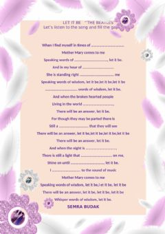 Interactive worksheet Let's listen to the song and fill the gaps LET IT BE