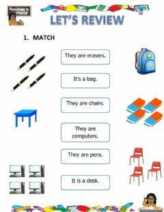 Interactive worksheet Review (school objects- colors)