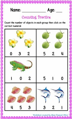Interactive worksheet Counting Sets 0-5