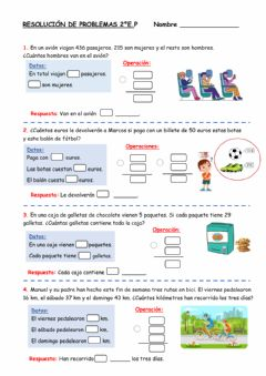 Interactive worksheet Resolución de problemas- 2ºE.P