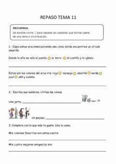 Interactive worksheet Repaso Lengua tema 11
