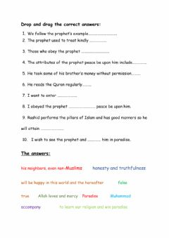 Interactive worksheet All My Ummah enter paradise