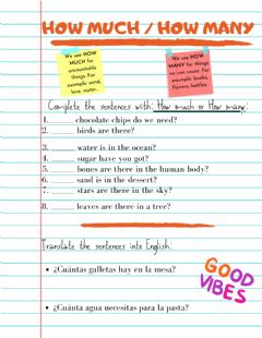 Interactive worksheet How Much -- How many