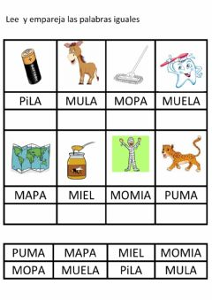 Interactive worksheet Lectura global letra p, m y l