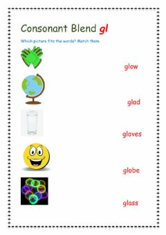 Interactive worksheet Consonant blend gl