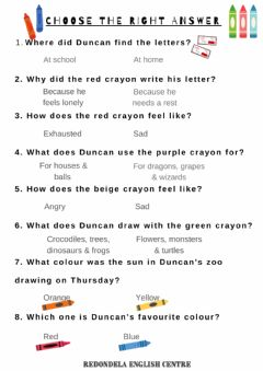 Interactive worksheet The day the crAYONS QUIT