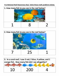 Interactive worksheet Math problem of the day- coral reef