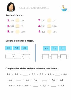 Interactive worksheet Calculo decimals