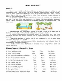 Interactive worksheet Reading holiday