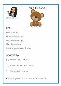 Interactive worksheet Comprensión lectora: mi oso