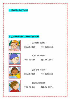 Interactive worksheet Can he swim?
