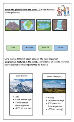 Interactive worksheet Geographical Features - EXTRA 4th Form