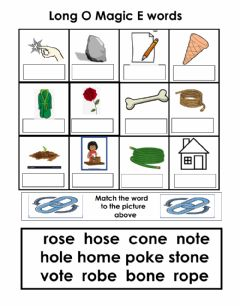 Interactive worksheet Long O magic E word box