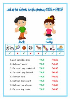 Interactive worksheet Can - Can't - True or False?