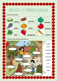 Interactive worksheet Fruit & vegetables