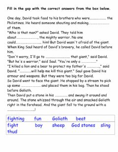 Interactive worksheet David and Goliath