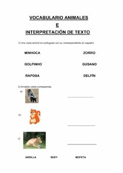 Interactive worksheet Vocabulario animales y comprensión lectora