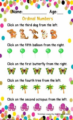 Interactive worksheet Ordinal Numbers (1st - 5th)