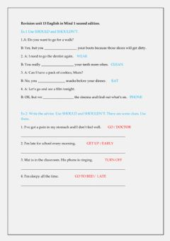 Interactive worksheet Revision unit 13 English in Mind 1 se