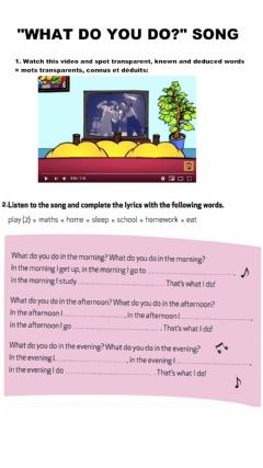 Interactive worksheet What do you do? song