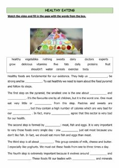 Interactive worksheet Healthy eating