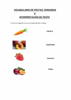 Interactive worksheet Vocabulario frutas, verduras e interpretación de texto
