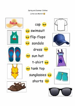 Interactive worksheet Spring and Summer Clothes Vocabulary