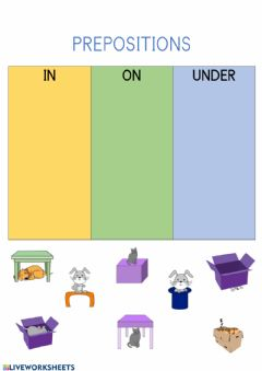 Interactive worksheet In on under