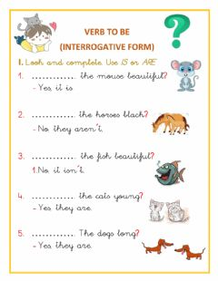 Interactive worksheet VERB TO BE (interrogative form)