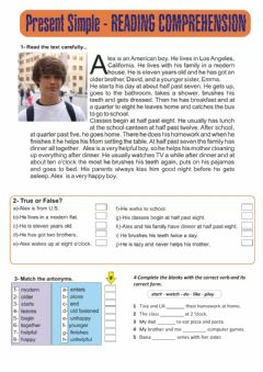 Interactive worksheet Present simple reading and activities