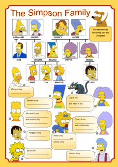 Interactive worksheet The Simpsons Family