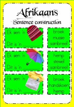 Ficha interactiva Week 17 - Afrikaans - Sentence Construction