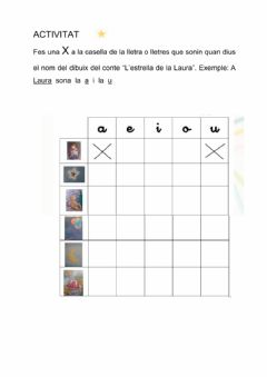 Interactive worksheet L'estrella de la Laura-vocals