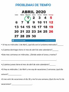 Interactive worksheet Calendario