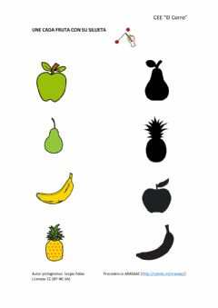 Interactive worksheet Siluetas de frutas