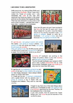 Interactive worksheet I am going to be a beefeater