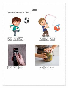 Interactive worksheet Push or Pull or Twist
