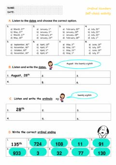 Ficha interactiva 1st - Ordinal Numbers - Self-check B