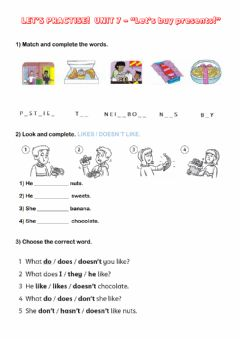Interactive worksheet Let's but presents!
