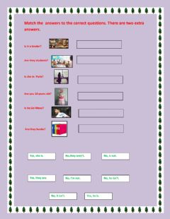 Interactive worksheet Verb to be yes-no questions