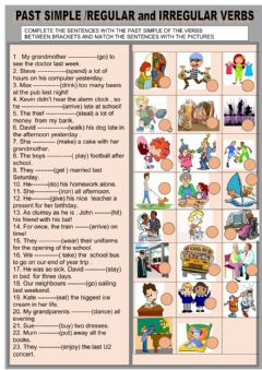 Interactive worksheet Past simple - regular and irregular verbs