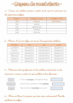 Interactive worksheet Repaso vocabulario sufijos