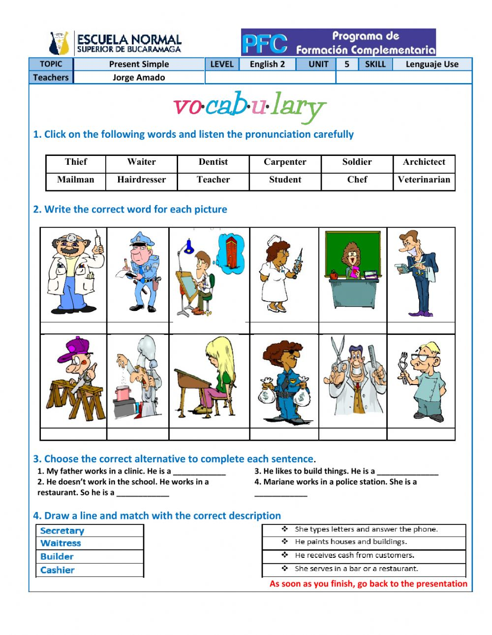 Vocabulary Jobs And Occupations Worksheet