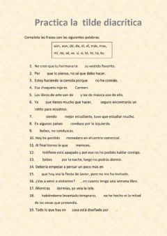 Interactive worksheet Tilde diacrítica