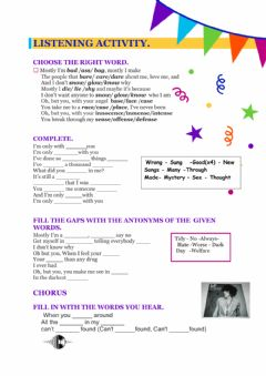 Interactive worksheet Improve your Vocabulary with Songs
