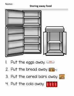 Interactive worksheet Storing away food