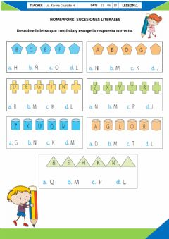Interactive worksheet Homework: Sucesiones Literales