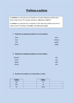 Interactive worksheet Prefixos e sufixos