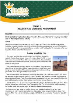 Ficha interactiva Teens 2-Reading and listening assignment